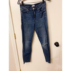 Mother Stunner Zip Ankle Step Fray Jeans - size 26
